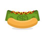Pieniądze hot dog Babeczki i sterty gotówka Pieniężny fast food Ranek Obraz Royalty Free