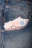 Pieniądze i cajgi fotografia royalty free