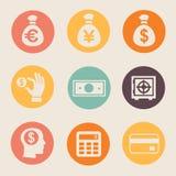 Pieniądze i monety ikony ustalona ilustracja ÂŒ Obrazy Stock