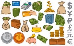 Pieniądze ikony ustawiać Obraz Stock