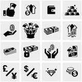Pieniądze ikony ustawiać na szarość Fotografia Stock
