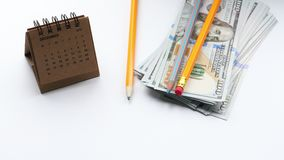 Pieniądze, kalendarz i miejsce dla teksta, zdjęcie wideo