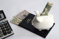 pieniądze kalkulatorska podróż Zdjęcia Stock