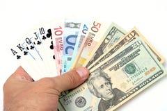 pieniądze, karty grać Obraz Royalty Free