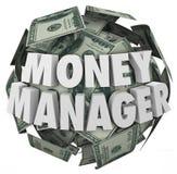 Pieniądze kierownika 3d słów piłki gotówki Pieniężny Advisor Obrazy Royalty Free