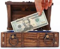 Pieniądze klatka piersiowa zdjęcie stock