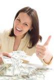 pieniądze kobiety potomstwa obraz stock
