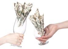 Pieniądze Koktajlu biznesowa pojęcia teraźniejszość zdjęcie stock