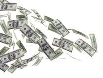 Pieniądze latający tło Fotografia Stock