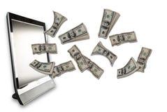 Pieniądze latanie z twój komputeru obraz stock