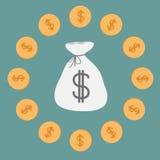 Pieniądze monety i torba. Ikona. Dolarowy znak. ilustracji