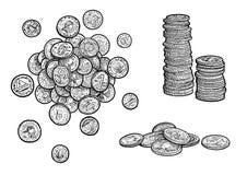 Pieniądze, monety ilustracja, rysunek, rytownictwo, atrament, kreskowa sztuka, wektor royalty ilustracja