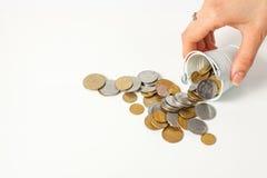 Pieniądze monety kawałka gotówki waluta Ukraine Obrazy Stock