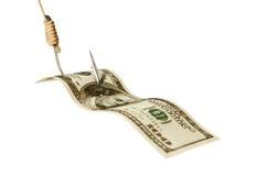 Pieniądze na haczyku zdjęcia royalty free