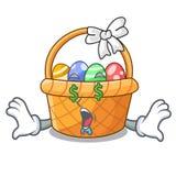 Pieniądze oka Easter kosz nad drewniany kreskówka stół ilustracja wektor