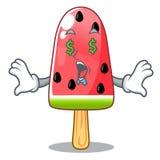 Pieniądze oka lody arbuz na kształt maskotce ilustracja wektor