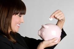 pieniądze oszczędzania kobieta Fotografia Stock