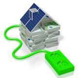 Pieniądze, panelu słonecznego pojęcie Obraz Royalty Free
