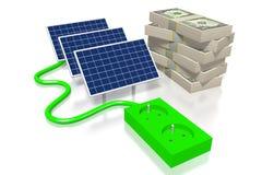 Pieniądze, panelu słonecznego pojęcie Obraz Stock