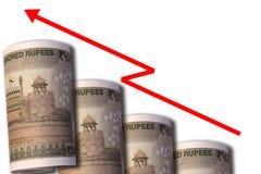 Pieniądze patrzeje jak wzrastający wykres z oddolną wskazuje strzała symbolizuje ekonomicznych związki zdjęcia royalty free