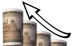 Pieniądze patrzeje jak wzrastający wykres z oddolną wskazuje strzała symbolizuje ekonomicznych związki obrazy royalty free