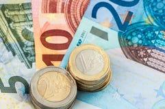 Pieniądze pięć, dziesięć i dwadzieścia, Euro rachunki Obrazy Royalty Free