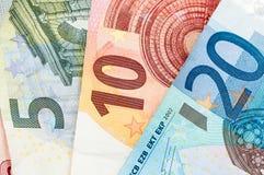 Pieniądze pięć, dziesięć i dwadzieścia, Euro rachunki Zdjęcie Royalty Free