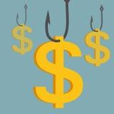 Pieniądze połowu haczyk Zdjęcia Stock