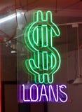 Pieniądze Pożyczać Gotówkowych pożyczek znaka obraz stock