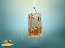 Pieniądze pojęcia ilustracja, Hongkong dolara pieniądze papier na rybim haczyku Zdjęcie Stock