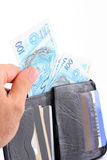 pieniądze portfel. Zdjęcia Stock