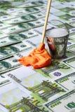 pieniądze pralniczy wektor Banknoty, wiadro woda i kwacz z łachmanem, Obraz Royalty Free