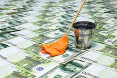 pieniądze pralniczy wektor Banknoty, wiadro woda i kwacz z łachmanem, Fotografia Stock