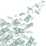 Pieniądze przepływ, spada dolar waluta na białej wektorowej ilustraci ilustracja wektor