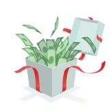 Pieniądze przybycie z prezenta pudełka Zdjęcia Stock