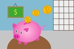 Pieniądze pudełko z bitcoins Fotografia Royalty Free