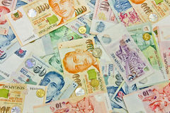 pieniądze różnorodny nominalny Singapore Obrazy Stock