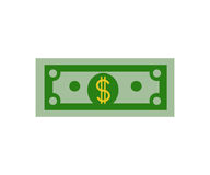 Pieniądze rachunku gotówki ikona na białego tła projekta Płaskim wektorze Obrazy Royalty Free