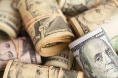 Pieniądze rolek stos fotografia stock