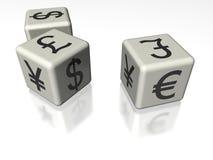 Pieniądze symbolu sześciany Obrazy Stock