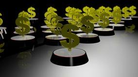 Pieniądze szyldowy 3d wytwarzający, złocista tekstura Fotografia Royalty Free
