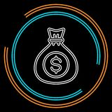 Pieniądze torba bankowość podpisuje, bankowości gotówka - waluta symbol, inwestorska ikona - royalty ilustracja