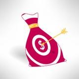 Pieniądze torby ikona z celem i strzała Pieniądze przychód Fotografia Stock
