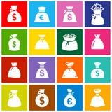 Pieniądze torby, ustawiają ikony na barwionych kwadratach Zdjęcie Royalty Free
