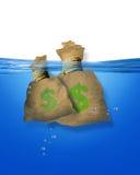 Pieniądze torby w wodzie royalty ilustracja