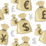 Pieniądze torby walut Bezszwowy wzór Obraz Stock
