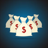 Pieniądze torby z dolarowego znaka tłem wektor Obraz Stock