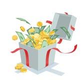 Pieniądze ukuwa nazwę przybycie z prezenta pudełka Obraz Royalty Free