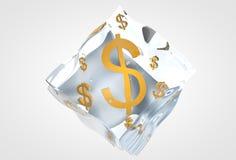 Pieniądze wśrodku kostka lodu Obraz Royalty Free