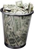 Pieniądze w śmieciarskim koszu Zdjęcia Stock